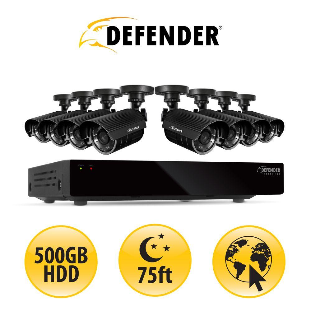 Defender 16 CH H.264 500GB Smart SecurityDVR with 8 Hi-res Outdoor Surveillance Cameras and SmartPhone Compatibility-DISCONTINUED