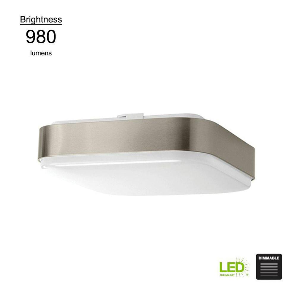 Modern Style 11 in. Square Brushed Nickel 75 Watt Equivalent Integrated