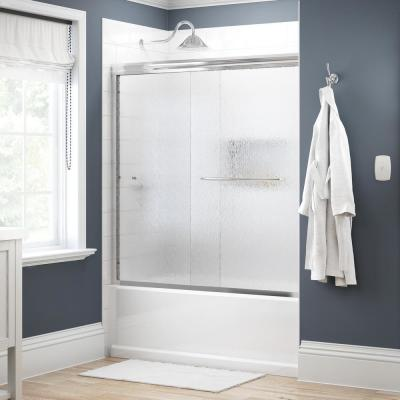 Simplicity 60 in. x 58-1/8 in. Semi-Frameless Traditional Sliding Bathtub Door in Chrome with Rain Glass