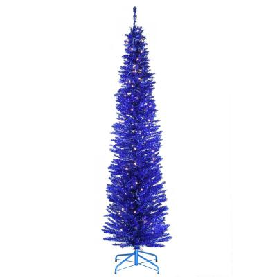 7 ft. Blue Tinsel Tree with Metal Stand and 210 Clear Lights
