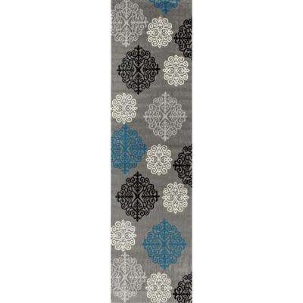 Modern Geometric Damask Design Gray 2 ft. x 7 ft. Runner Rug