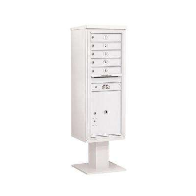 3400 Series 63-1/4 in. 13 Door High Unit White 4C Pedestal Mailbox with 5 MB1 Doors/1 PL6