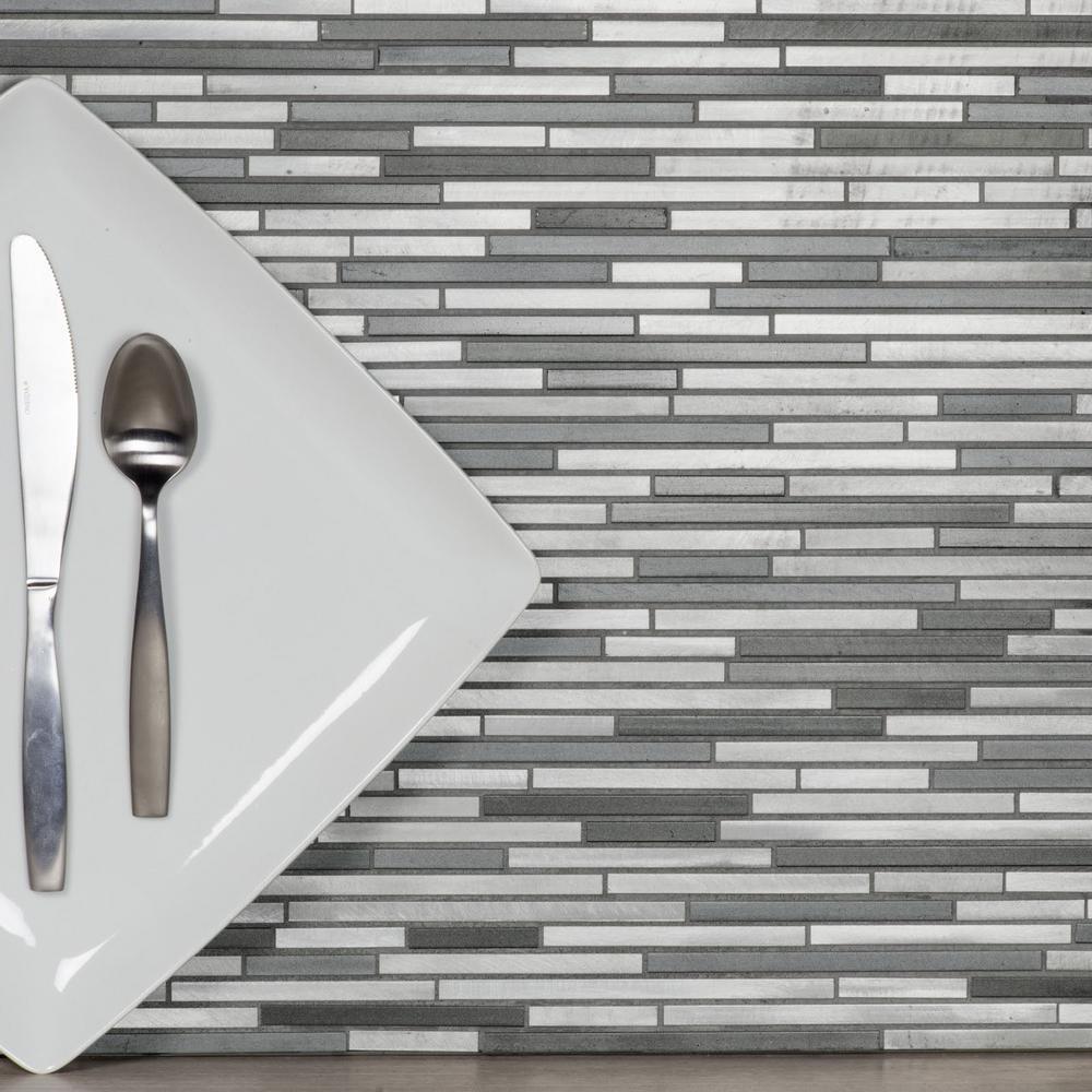 Abolos Blissful Metal 11 75 In X 16 Brushed Silver Thin Linear Aluminum Decorative Tile Backsplash Hmdctltln Ny The Home Depot