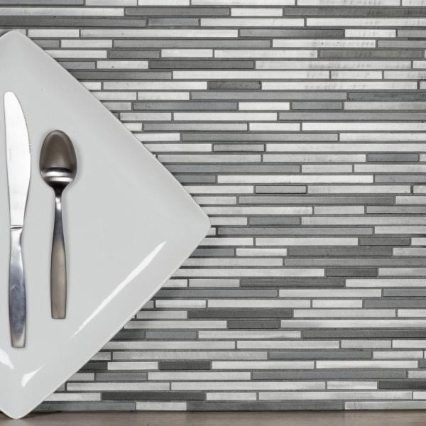ABOLOS Mosaic 12'' x 12'' Linear Gray Brushed Aluminum Metal Mesh