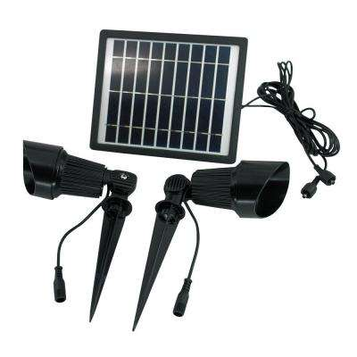 Solar Bright White LED Black Outdoor Super Spot Light
