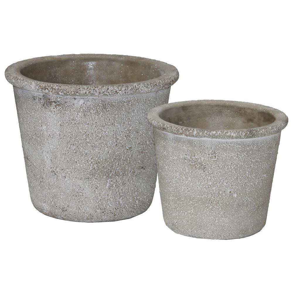 Gray Concrete Rough Cement Decorative Vase