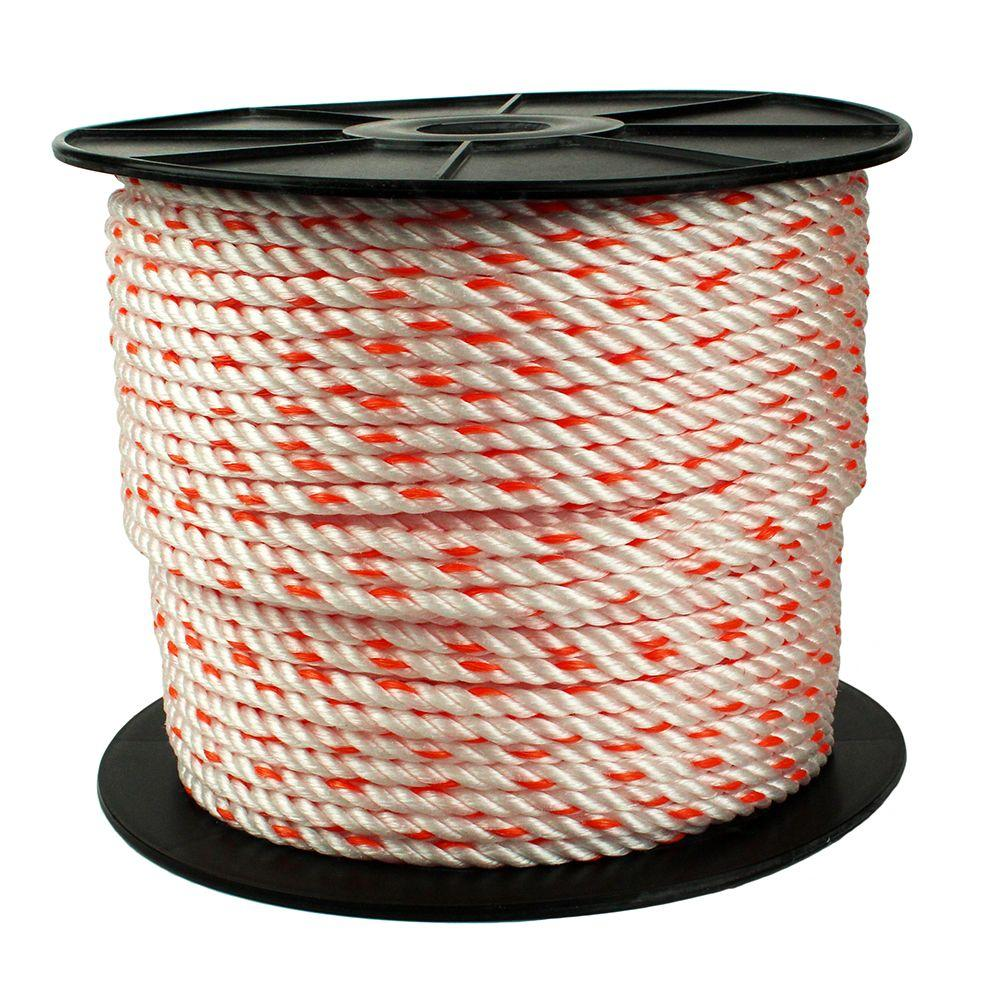 3/8 in. x 500 ft. Poly Rope in White/Orange