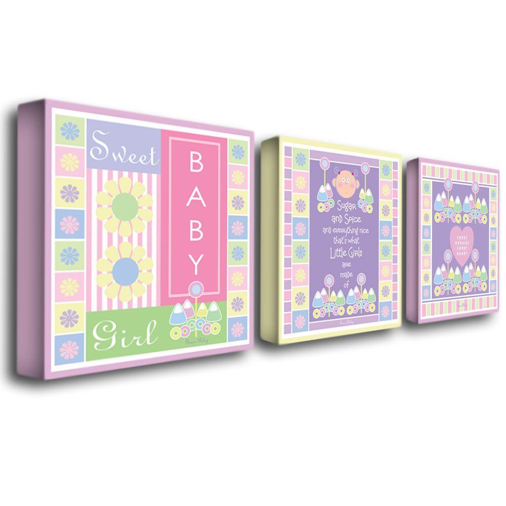 Trademark Fine Art 14 in. x 19 in. Sweet Baby Girl 3-Piece Canvas Art Set