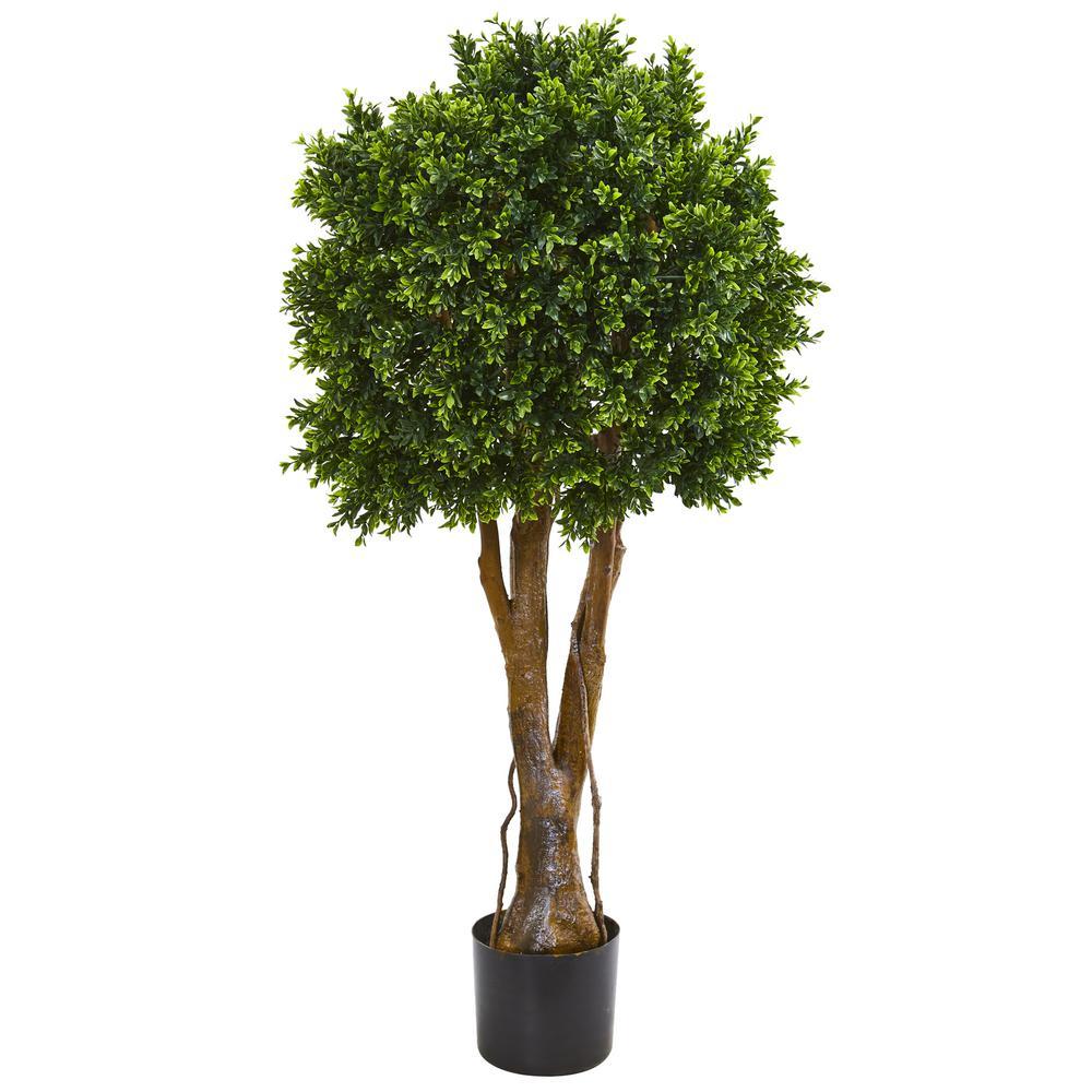 Indoor/Outdoor 46 In. Boxwood Artificial Topiary Tree UV Resistant