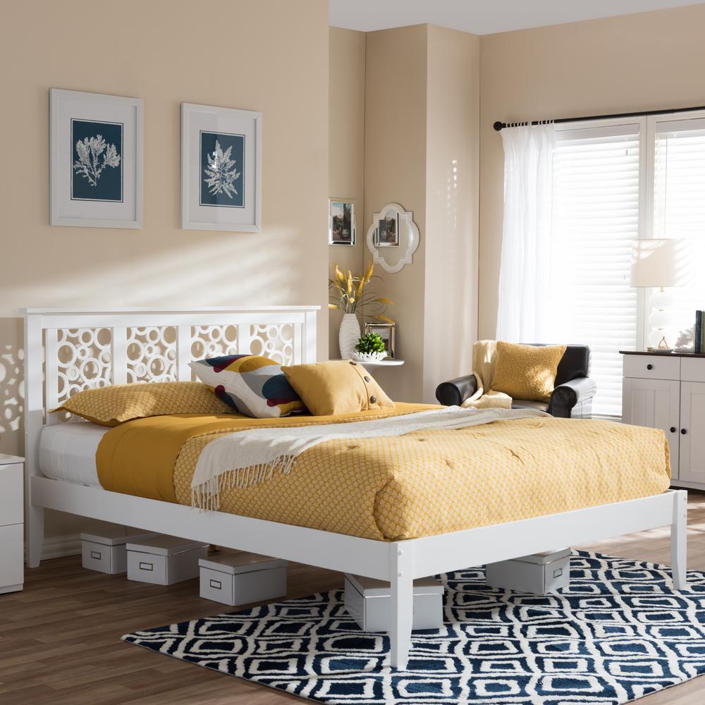 Celine White Queen Platform Bed