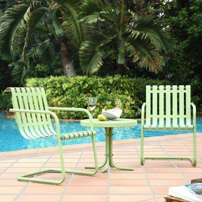 Gracie 3-Piece Metal Outdoor Conversation Seating Set - 2-Chairs and Side Table in Oasis Green