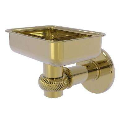 Continental Collection Wall Mounted Soap Dish Holder with Twist Accents in Unlacquered Brass