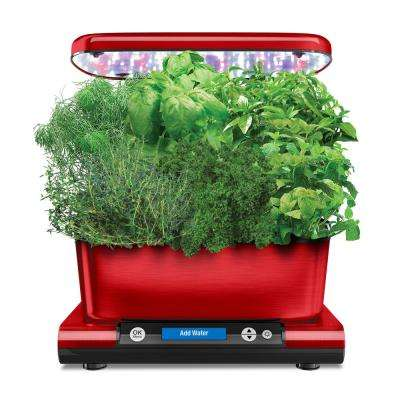 AeroGarden Harvest Elite with Gourmet Herb Seed Pod Kit in Red Stainless
