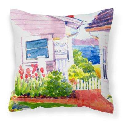14 in. x 14 in. Multi-Color Lumbar Outdoor Throw Pillow Beach View Between the Houses Decorative Canvas Fabric Pillow