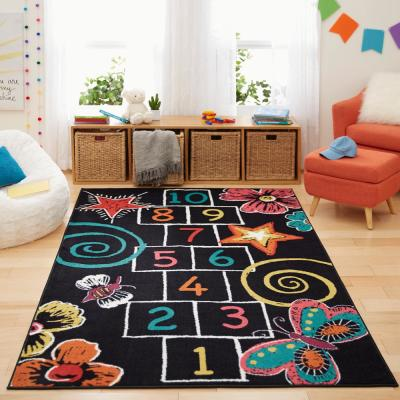 Hopscotch Chalk Black 5 ft. x 8 ft. Indoor Area Rug