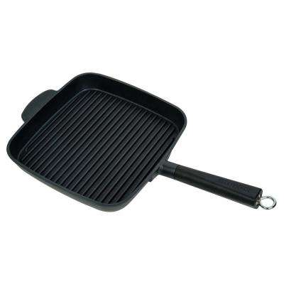 Non-Stick Cast Aluminium Deep Grill Pan with Detachable Handle, 11 in. Black