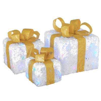 8 in. Glittered White Gift Box Set with Multi-LED Twinkle Lights