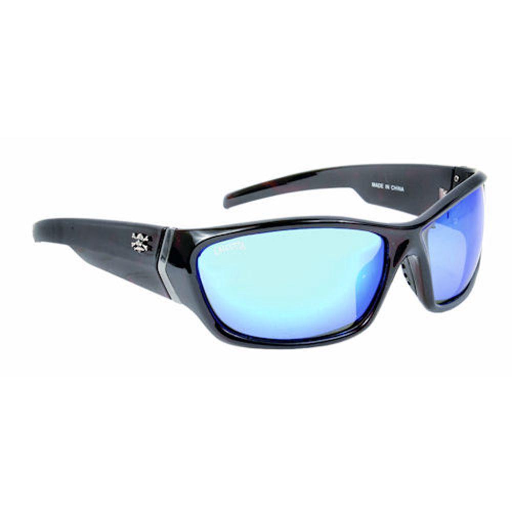 Tortoise Frame Islander Sunglasses with Mirror Lenses in Blue