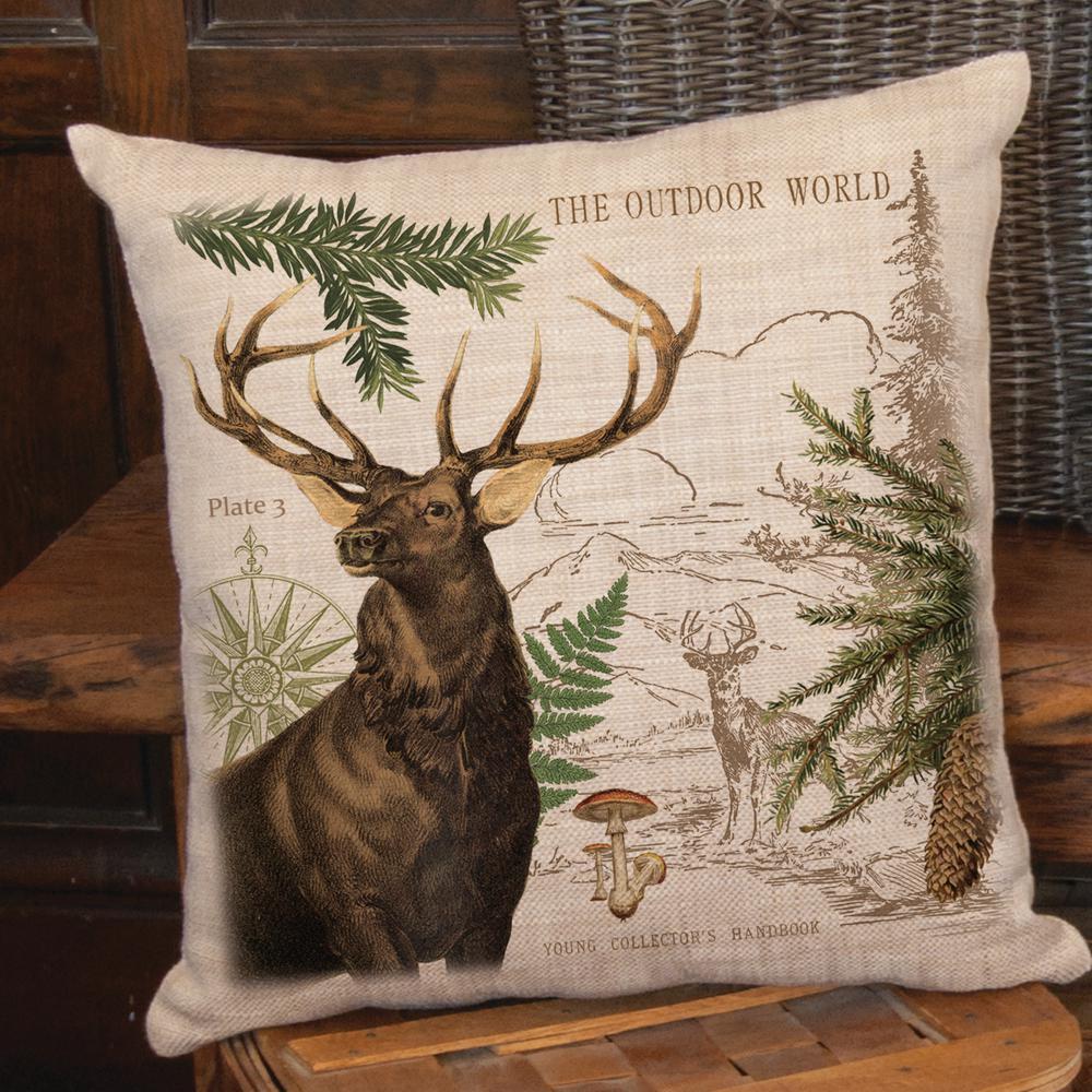 Lodge Hollow Natural Elk Decorative Pillow
