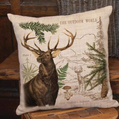 Lodge Hollow Natural Animal Print Polyester 18 in. x 18 in. Throw Pillow