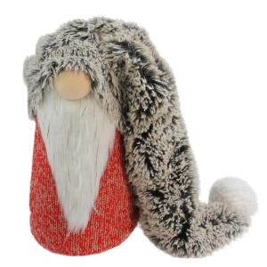 16 in. Red Grey and White Long Fluffy Hat Gnome Christmas Decoration