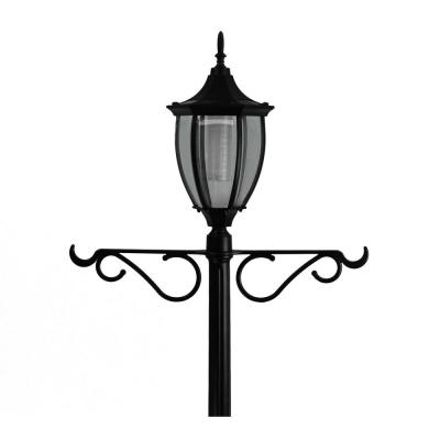 Crestmont 1-Light Outdoor Black Integrated LED Lamp Post and Planter