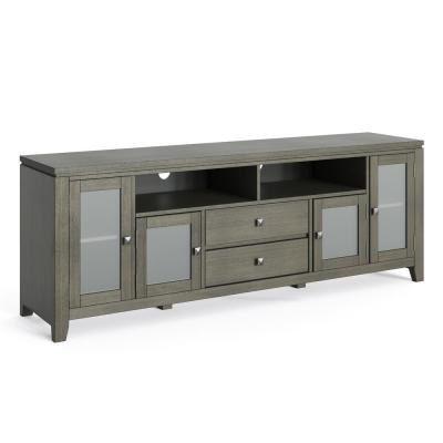 Cosmopolitan 72 in. Farmhouse Grey Composite TV Stand with 1 Drawer Fits TVs Up to 80 in. with Storage Doors