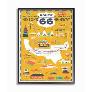 11 In X 14 Us Route 66 Historic Highway Mustard Yellow Ilrated Scenic Map Poster By Vestiges Framed Wall Art