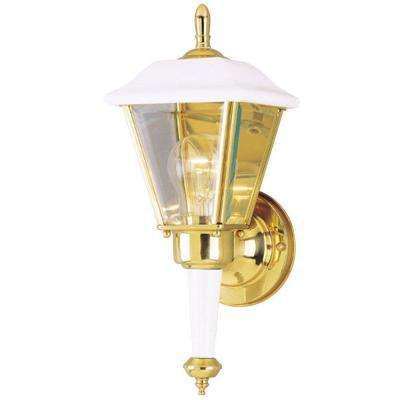 Westinghouse white outdoor lanterns outdoor wall mounted 1 light white steel exterior wall lantern with polished brass accents and clear beveled glass aloadofball Image collections
