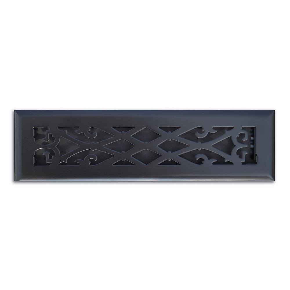 Elegant Scroll 2 in. x 12 in. Steel Floor Register in Matte Black