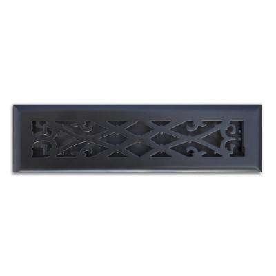 2 in. x 12 in. Elegant Scroll Floor Register in Matte Black