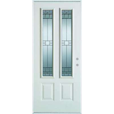 37.375 in. x 82.375 in. Left-Hand Architectural 2 Lite Decorative 2-Panel Painted White Steel Prehung Front Door