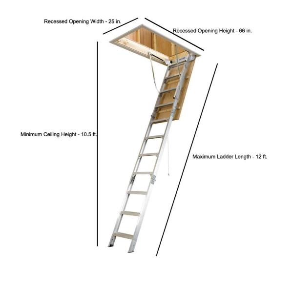 Werner 12 Ft 25 In X 66 In Aluminum Attic Ladder With 375 Lb Maximum Load Capacity Ah2512 The Home Depot
