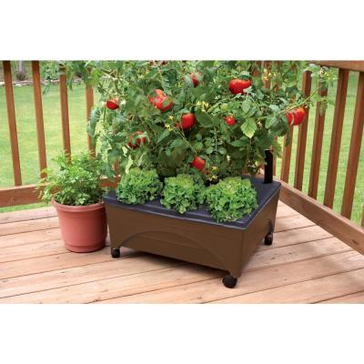 24.5 in. x 20.5 in. Patio Raised Garden Bed Kit with Watering System and Casters in Earth Brown