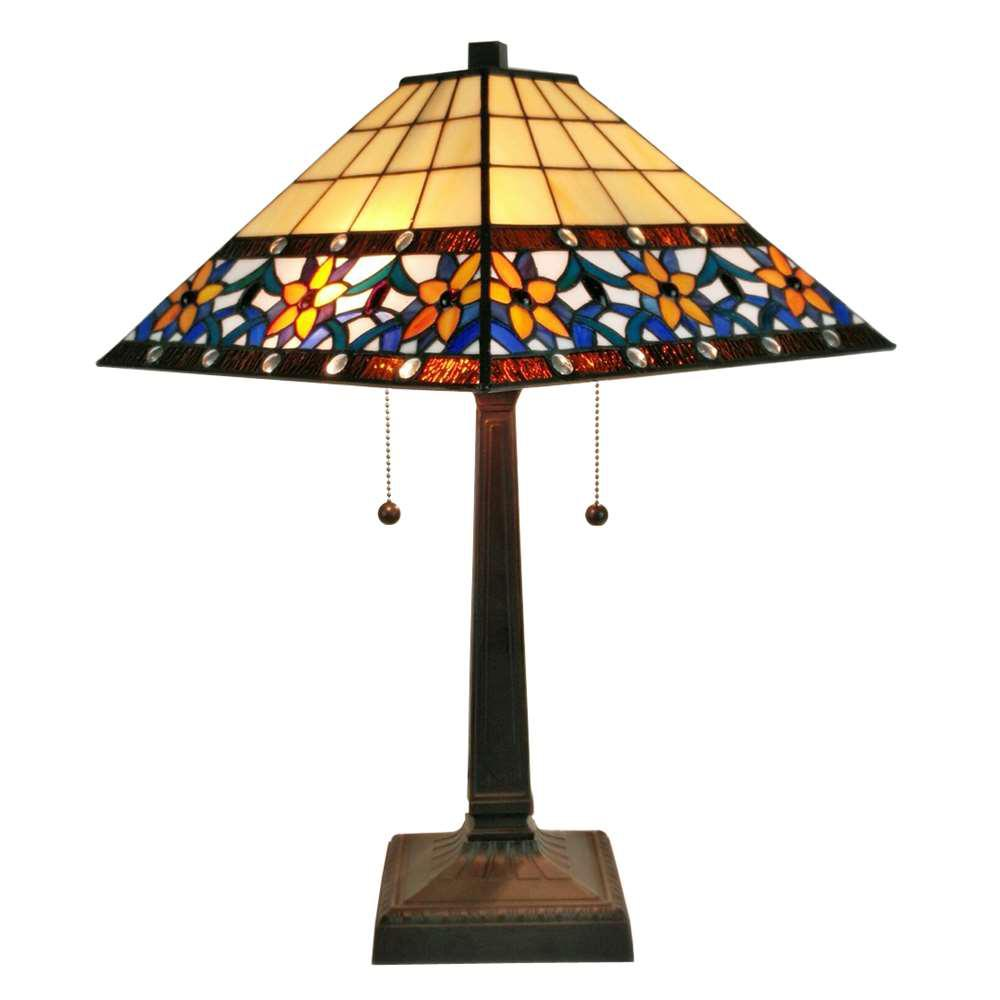 Merveilleux Multicolored Tiffany Style Floral Mission Table Lamp
