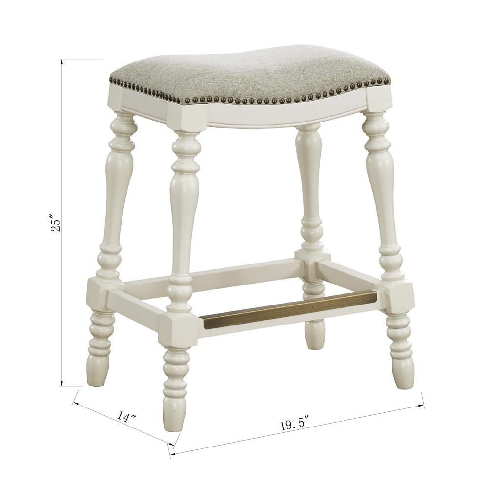 Hampton 25 In White Saddle Seat Counter Stool 3202 025t