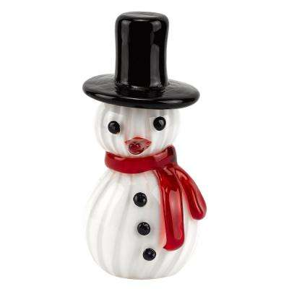 Mouth Blown Art Glass 8 in. Snowman