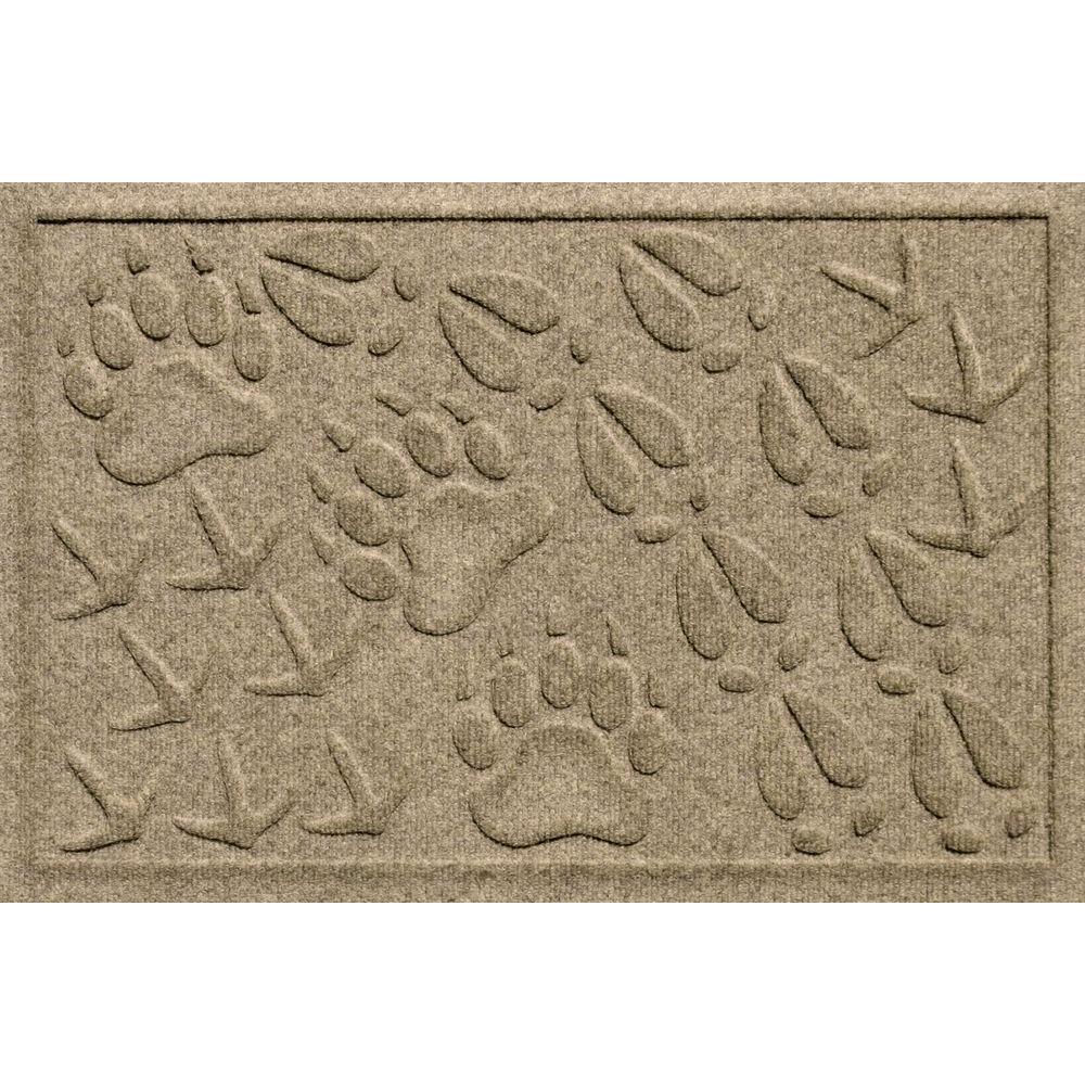 Aqua Shield Animal Tracks Khaki 17.5 in. x 26.5 in. Pet Mat