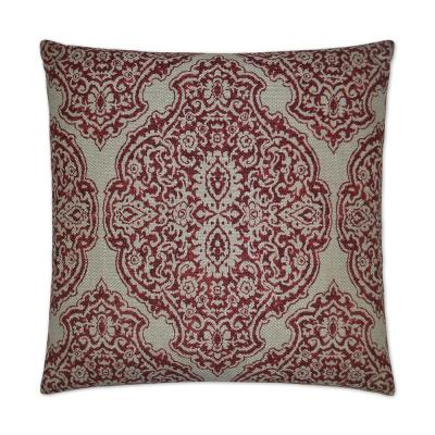Delmonico Red Geometric Down 24 in. x 24 in. Throw Pillow
