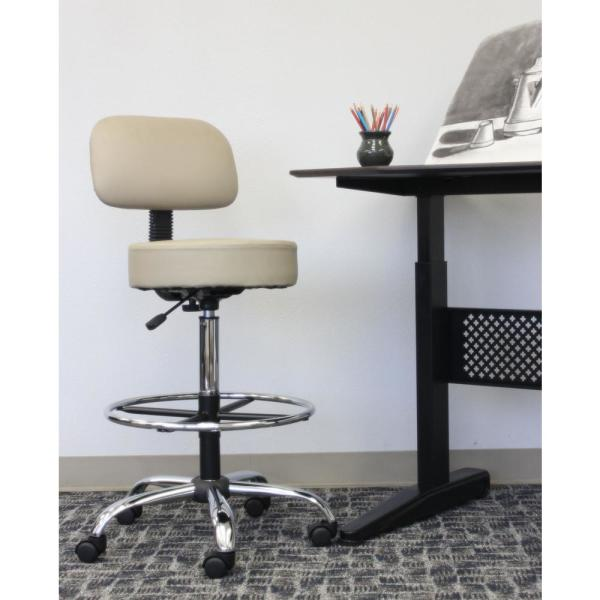 Boss Beige Caressoft Beige Medical and Drafting Stool with Back Cushion