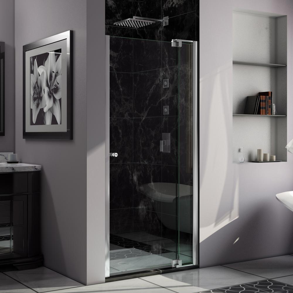 DreamLine Allure 30 in. to 37 in. x 73 in. Semi-Frameless Pivot Shower Door in Chrome