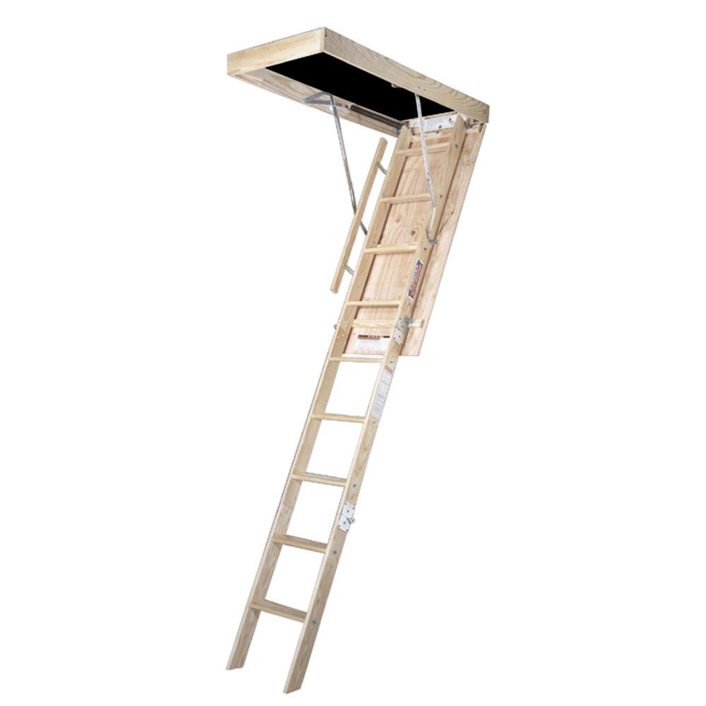 Werner 8 Ft 25 In X 54 In Wood Attic Ladder With 350
