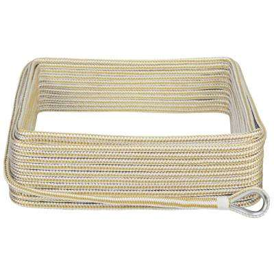 3/8 in. x 100 ft. BoatTector Double Braid Nylon Anchor Line with Thimble in White and Gold