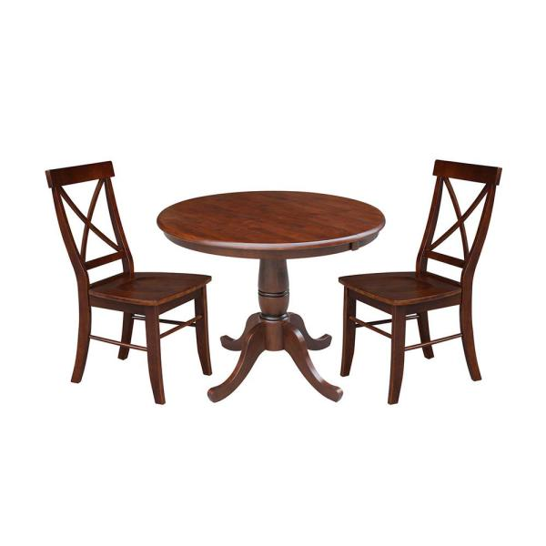 International Concepts Laurel 3 Piece Espresso Oval Solid Wood