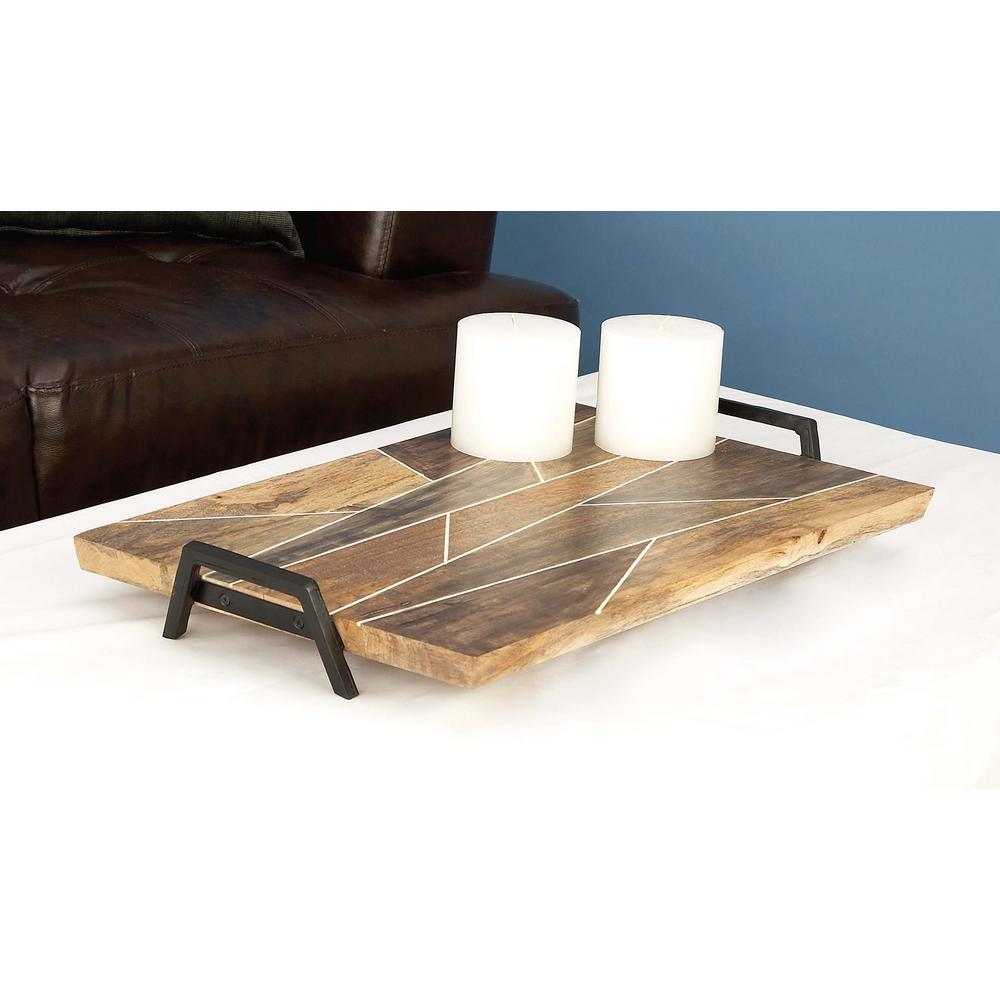 Geometric Wooden Brown Decorative Tray