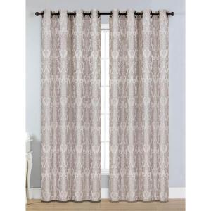 Window Elements Semi-Opaque Veronica Jacquard Taupe Grommet Extra Wide Curtain Panel, 54 inch W x 84 inch L by Window Elements