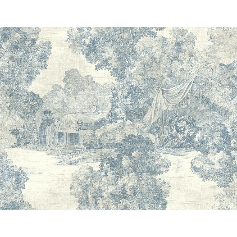 Lenox Hill Off-White and Denim Toile Wallpaper
