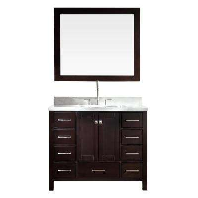 Cambridge 43 in. Bath Vanity in Espresso with Marble Vanity Top in Carrara White with White Basin and Mirror