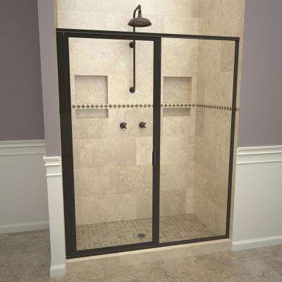1100 Series 59 in. W x 72-1/8 in. H Framed Swing Shower Door in Oil Rubbed Bronze with Pull Handle and Clear Glass