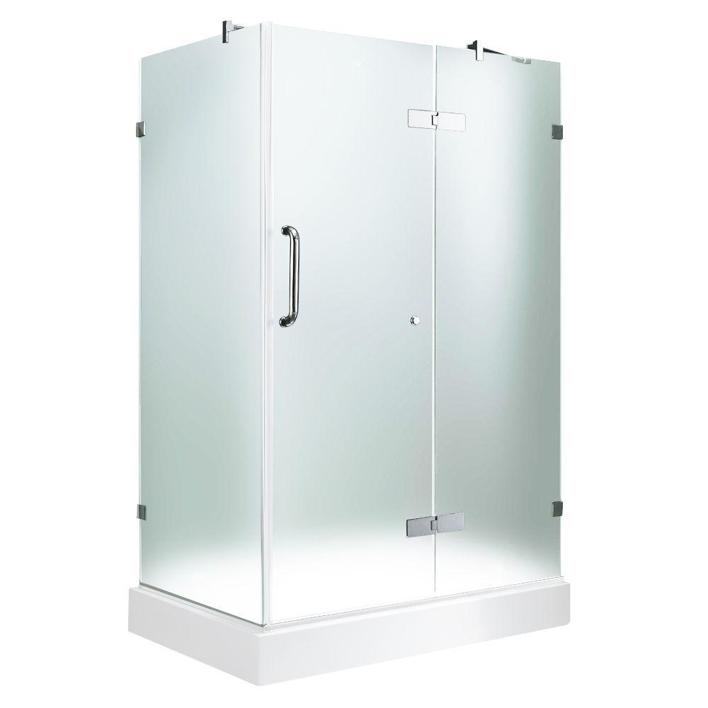 Vigo 36-1/8 in. x 48-1/8 in. x 79-1/4 in. Frameless Pivot Shower Door in Chrome with Frosted Glass with Left Base